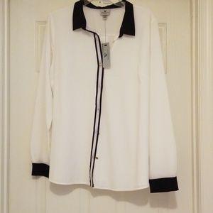NWT Black/white button down dress shirt, size XL